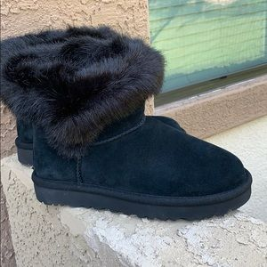UGG black suede fur ankle boots brand new size 6